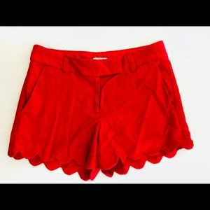 J crew red scalloped shorts Sz 00